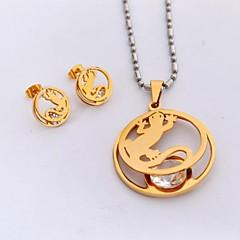 Ékszer készlet aranyos stílus Titanium Acél Arannyal bevont Arany Nyakláncok Naušnice Mert Napi Hétköznapi Sport Esküvői ajándékok