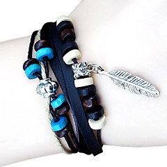 Fashion leather bracelet beaded leaves