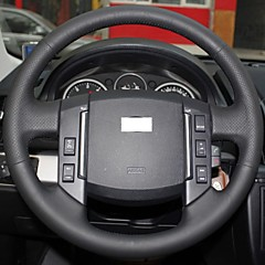 XuJi ™ Black Genuine Leather Steering Wheel Cover for 2007-2012 Land Rover Freelander 2 Discovery 3