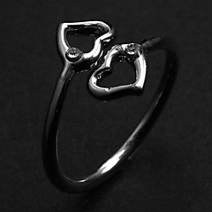 Fashion Hollow Double Hearts Women's Silver Alloy Statement Rings(1 Pc)