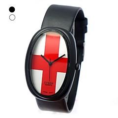 Unisexe ovale Dial PU bande de montre bracelet à quartz (couleurs assorties)