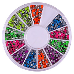 2mm Blandet Color Rundhed Rivet Nail Art Dekorationer