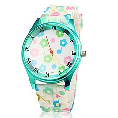 Colorful Flower Custodia verde silicone banda quarzo orologio da polso da donna
