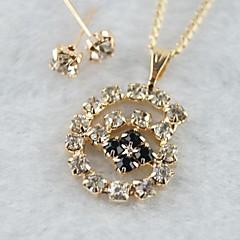 Miss ROSE®Zircon Snail Pattern Earrings & Necklace Jewelry Set