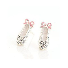 Lovely Delicate Ballet Shoes Bow Stud Earring