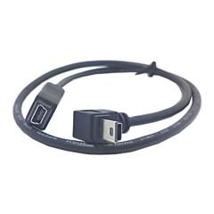 GPS Mini USB 5Pin 90 graden omlaag sorteren Schuine Man-vrouw-verlengkabel 50cm