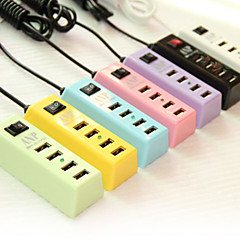 4-in-one USB Hub US Plug Caricabatteria per iPhone / iPad e altri (5V 2.1A, 180CM, colori assortiti)