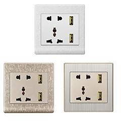 EU + USA + UK + Dual-USB-Wechselstrom-Sockel-Panel