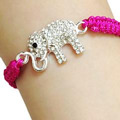 Dame Charm-armbånd Unikt design Venskab Håndlavet Mode Rhinsten Stof Legering Dyreformet Alfabetformet Elefant Orange Rosa Grøn Blå
