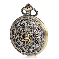 Men's Mechanical Hollow Cover Bronze Alloy Pocket Watch