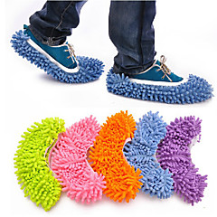 Mop Slipper Socks-Water Sucking-Floor Dusting Cleaning-Blue/Green/Pink/Orange/Purple-1 Pair