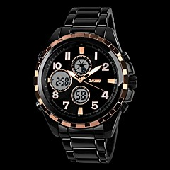 Men's Military Style Dual Time Zones Hard Steel Band Wrist Watch (Assorted Colors)