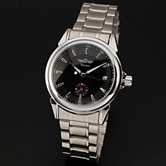 WINNER® Men's Automatic Self-Wind Auto Date Black Dial Silver Steel Band Analog Wrist Watch Cool Watch Unique Watch