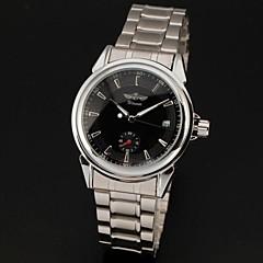 Individu-Vent automatique Auto Date Homme Noir Cadran Argent Acier Bande analogique montre-bracelet