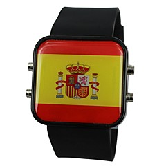 Unisex LED Spain Flag Style Silicone Band Wrist Watch(Assorted Colors)