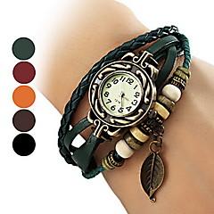 Analoge Quartzuhr für Damen, mit mehrreihigem Lederarmband, Perlen und Blattmotiv (mehrere Farben)