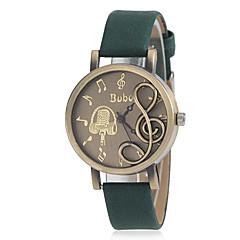 Kvinners Musical Note Shape Round Dial PU Band Quartz Analog Fashion Watch (assortert farge)