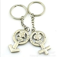 (2 ks) Krásné mužů a žen Móda Symbol Tvar High-Grade Stainless Steel pár Keychain