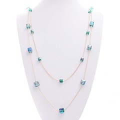 Multicolor Korean Simple Women Crystal Necklace Multilayer Long Sweater Chain Necklaces