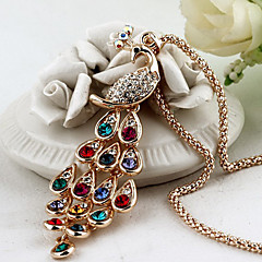 Lureme®Multicolor Crystals Peacock Pendant Alloy Necklace