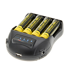 NITECORE NL183 2300mAh 18650 Battery (4 pcs) + TrustFire TR-009 Battery Charger for 14500/18650/16430 (for 4 Batteries)