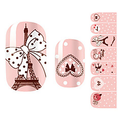 28PCS Pink Romantic Paris Design Nail Art Stickers
