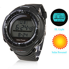 Unisex Waterproof Solar Powered Wrist Watch (Black, Chronograph, Alarm and EL Light)