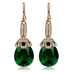 Fashion Crystal Drop Dangle Vintage Earrings Fashion Jewelry Gold Plated Brand Green Earrings for Women 2014