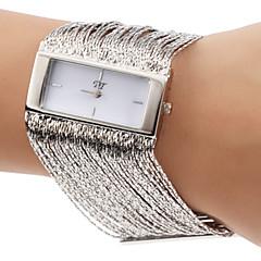 Vrouwen Modieuze vierkante behuizing Kwasten Ontwerp Zilver Staal band kwarts armband horloge (verschillende kleuren)