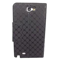 Kaunis Dot timantti Pattern PU Leather Full Body Case telineellä Samsung N7100