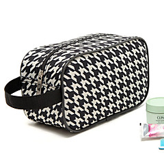 Portable Terylene Black&White Swallow Gird Hound Tooth Checked Clutch Cosmetic Bag Makeup Storage Bag