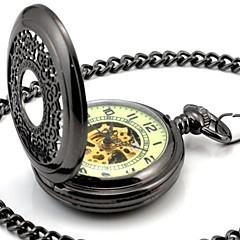 Perspektywa męska Okrągły Hollow Wszystkie Czarne Luminous Dial Mechanic Skeleton zegarek kieszonkowy