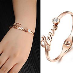 Beautiful Ladies Fashion Jewelry Set Auger Zircon Gold Titanium Gold Bracelet