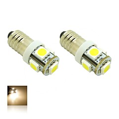 E10 1W 5X5050 SMD Warm White 3000K Lights LED Light Bulb for Diy (DC 12V , 2-Pack)