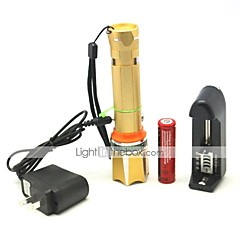 LT-HJ124 Rechargeable 3 Modes 1xCree XML T6 Zoom Led Flashlight(1000LM.1x18650.Golden)
