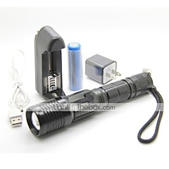 LT-FL-1021 UCL Lens 3 Modes 1xCree XPE T6 Zoom Led Flashlight(1000LM.1x18650.Black)