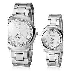 Couple's Diamante Round Dial Alloy Band Quartz Analog Dress Watch (Assorted Colors)