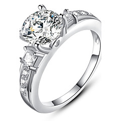Ms Beautifully Minimalist Fashion Diamond Platinum Plated Single Ring