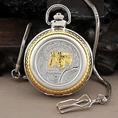 Men's Two Horses Style Round Roman Numerals Dial Quartz Analog Pocket Watch Cool Watch Unique Watch
