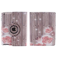 Wood Grain and Small Red Flower Pattern360 Degree Rotating PU Leather Case with Stand for iPad 2/3/4