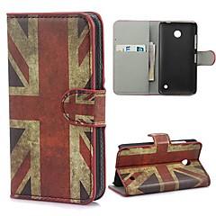 UK Flag Pattern PU Leather Case telineellä ja korttipaikka Nokia Lumia 630