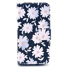 Chrysanthemum Flowers Blooming Pattern PU Leather Full Body Case for iPhone 4/4S