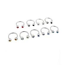 lureme®316l kirurgiskt titan stål kristall u flera syften enda örhängen (slumpmässig färg)