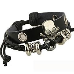The Beaded Skull Leather Bracelet