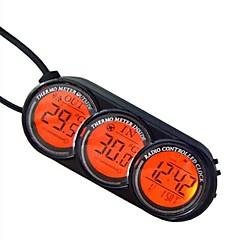Schermo LCD Digital Out Car termometro Sveglia Calendario blu / arancione retroilluminazione-Black