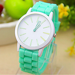 Unisex White Dial Candy Color Silicone Band Quartz Wrist Watch(Assorted Colors)