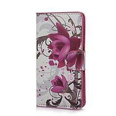 Elegantti Purppura kukkakuvio PU Leather Case telineellä ja korttipaikka Sony Xperia M C1905