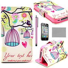 COCO FUN® K7 lovely Bird and Birdcage Wallet PU Leather Cases With Stand For iPhone 4S Included Film And Stylus