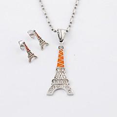 Fashion titanium stål Eiffeltårnet Diamonte halskæder og øreringe Smykke sæt