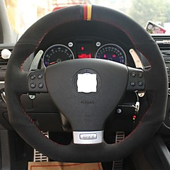 XuJi ™ Black Suede Three Color Mark Steering Wheel Cover for Volkswagen Golf 5 Mk5 GTI VW Golf 5 R32